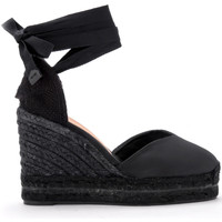 Shoes Women Sandals Castaner Chiara black canvas wedge sandal. Black