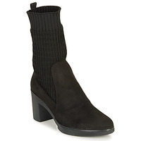 Shoes Women Ankle boots Wonders M3729-SUEDE-CALCETIN-NEGRO Black