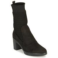 Shoes Women Ankle boots Wonders M3729-SUEDE-CALCETIN-NEGRO Black