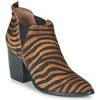 Shoes Women Ankle boots Wonders M4102-ZEBRATO-CUERO Brown / Black