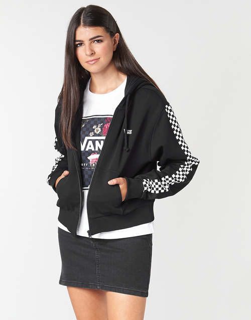 Clothing Women sweaters Vans FUNNIER TIMES CROP ZIP HOODIE Black
