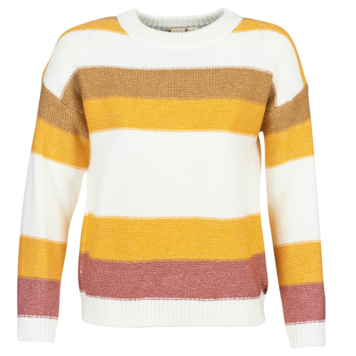 Clothing Women Jumpers Roxy TRIP FOR TWO STRIPE White / Yellow