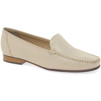 Shoes Women Loafers Maria Lya Toscana Womens Classic Leather Slip On Moccasins BEIGE