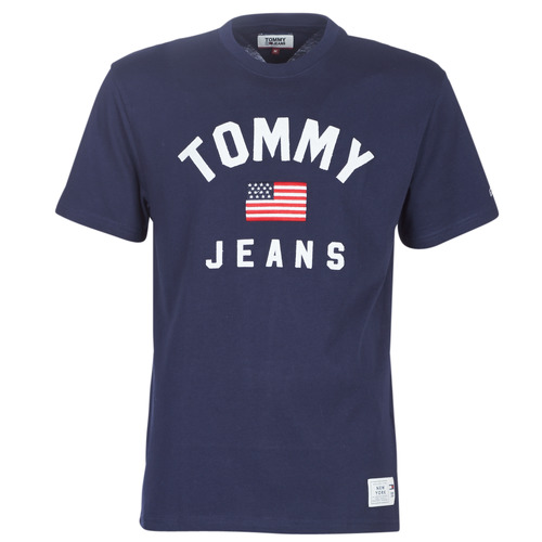 Clothing Men short-sleeved t-shirts Tommy Jeans TJM USA FLAG TEE Marine