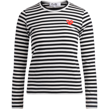 Clothing Women Long sleeved tee-shirts Comme Des Garcons T-shirt a righe bianche e nere Multicolour