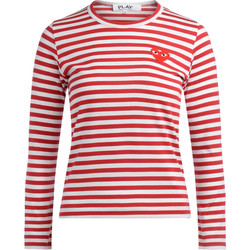 Clothing Women Long sleeved tee-shirts Comme Des Garcons T-shirt a righe bianche e rosse Red