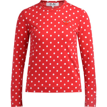 Clothing Women Long sleeved tee-shirts Comme Des Garcons T-shirt  rossa a pois bianchi Red