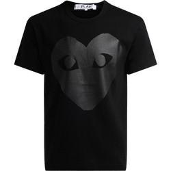 Clothing Men Short-sleeved t-shirts Comme Des Garcons T-shirt girocollo di colore nero, con stampa cuore Black