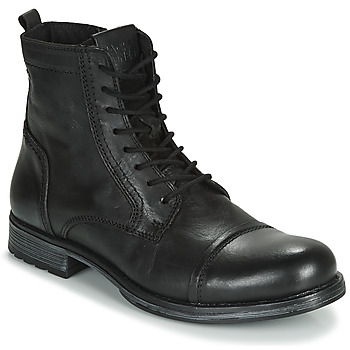 Edwardian Men's Shoes & Boots | 1900, 1910s Jack   Jones  JFW RUSSEL LEATHER  mens Mid Boots in Black £72.00 AT vintagedancer.com