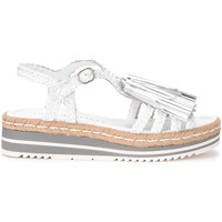 Shoes Women Sandals Pon´s Quintana sandal in white leather with tassels White