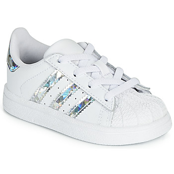 Shoes Girl Low top trainers adidas Originals SUPERSTAR EL I White / Silver