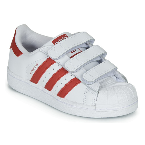 Shoes Children Low top trainers adidas Originals SUPERSTAR CF C White / Red