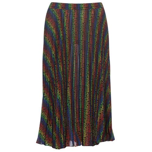 Clothing Women Skirts MICHAEL Michael Kors MULTI LOGO PLEAT SKRT Multicolour