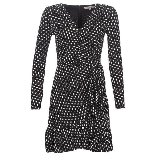 Clothing Women Short Dresses MICHAEL Michael Kors ELV DOT SHRD LS DRS Black