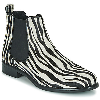 Shoes Women Mid boots Betty London HUGUETTE Black / White / Zebra