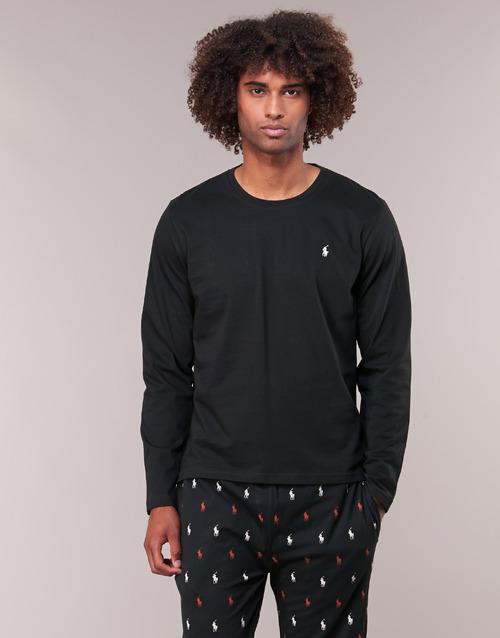Clothing Men Long sleeved tee-shirts Ralph Lauren L/S CREW-CREW-SLEEP TOP Black