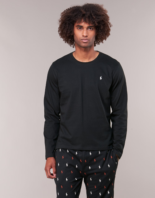 Clothing Men Long sleeved tee-shirts Polo Ralph Lauren L/S CREW-CREW-SLEEP TOP Black