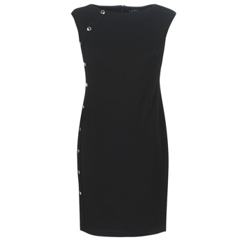 Clothing Women Short Dresses Lauren Ralph Lauren BUTTON-TRIM CREPE DRESS Black