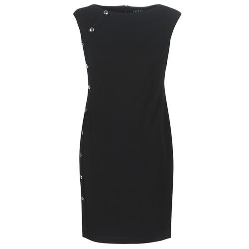 Clothing Women Short Dresses Lauren Ralph Lauren BUTTON-TRIM CREPE DRESS Black