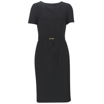 Clothing Women Long Dresses Lauren Ralph Lauren BELTED SHORT SLEEVE DRESS Black