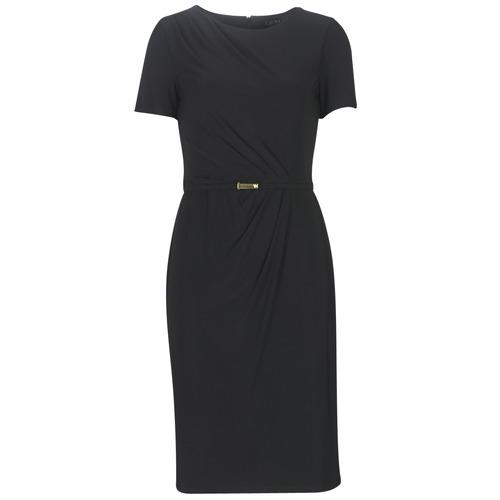 Clothing Women Long Dresses Lauren Ralph Lauren BELTED SHORT SLEEVE DRESS Black