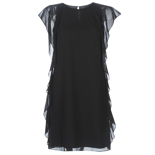 Clothing Women Short Dresses Lauren Ralph Lauren RUFFLED GEORGETTE DRESS Black