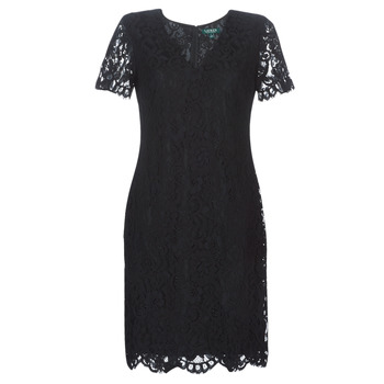 Clothing Women Short Dresses Lauren Ralph Lauren SCALLOPED LACE DRESS Black