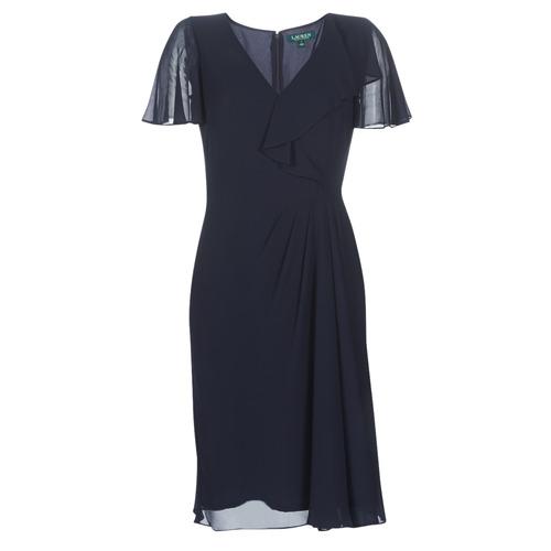 Clothing Women Long Dresses Lauren Ralph Lauren CUTLER CAP SLEEVE DAY DRESS Marine