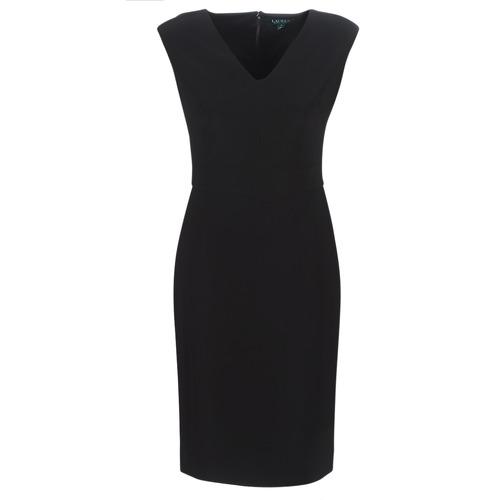 Clothing Women Long Dresses Lauren Ralph Lauren BLACK CAP SLEEVE DAY DRESS Black