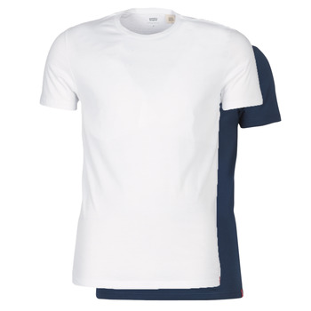 Clothing Men short-sleeved t-shirts Levi's SLIM 2PK CREWNECK 1 Marine / White
