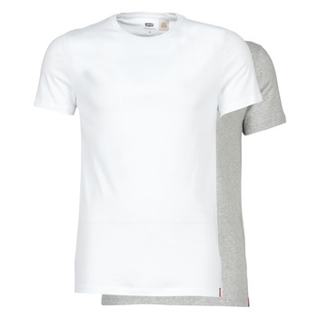 Clothing Men short-sleeved t-shirts Levi's SLIM 2PK CREWNECK 1 White / Grey