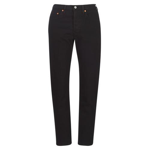 Clothing Women Boyfriend jeans Levi's 501 CROP  black / Heart