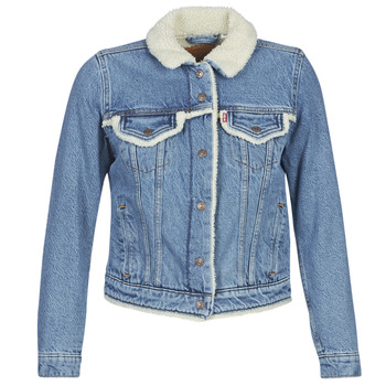 Clothing Women Denim jackets Levi's ORIG SHERPA TRIM TRUCKER Concrete / Indigo