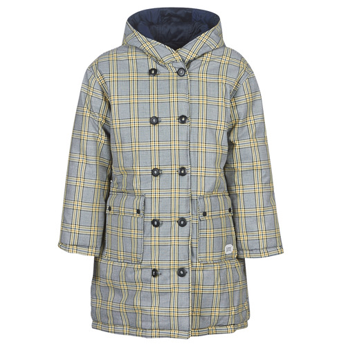 Clothing Women Duffel coats Maison Scotch REVERSIBLE DOUBLE BREASTED JACKET IN CHECK AND SOLID Marine