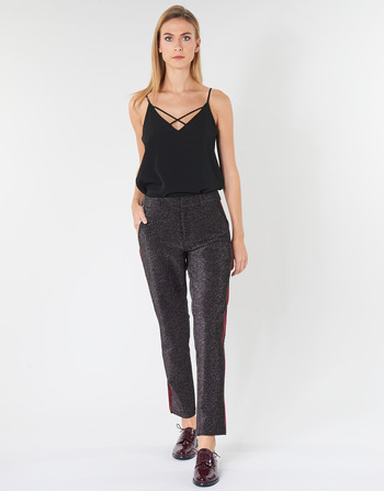 Maison Scotch TAPERED LUREX PANTS WITH VELVET SIDE PANEL