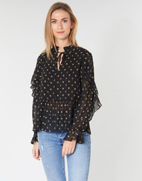 Clothing Women Tops / Blouses Maison Scotch SHEER PRINTED TOP WITH RUFFLES Black