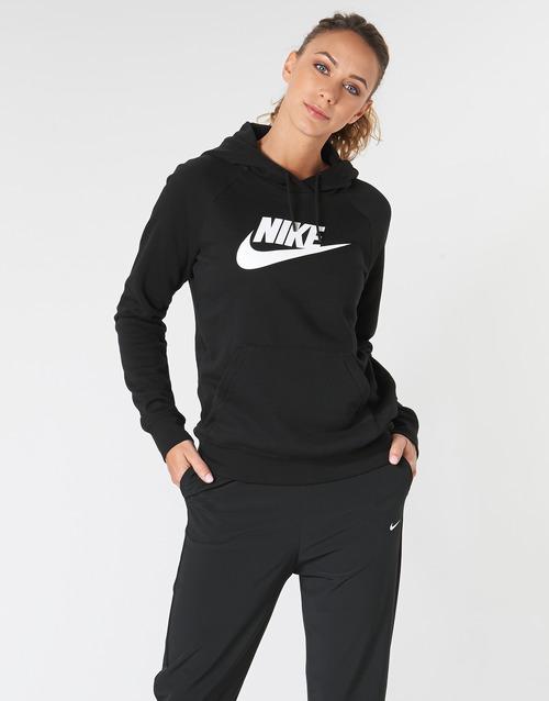 Clothing Women sweaters Nike W NSW ESSNTL HOODIE PO  HBR Black