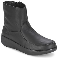 Shoes Women Boots FitFlop LOAF SHORTY ZIP BOOT LEATHER  BLACK