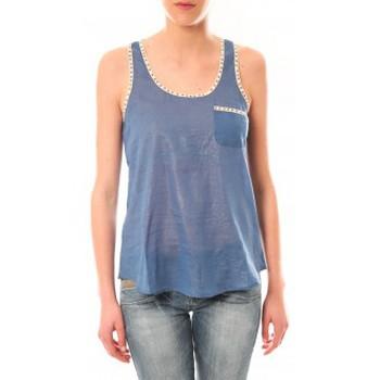 Clothing Women Tops / Sleeveless T-shirts Lara Ethnics Débardeur Ambre Bleu Blue