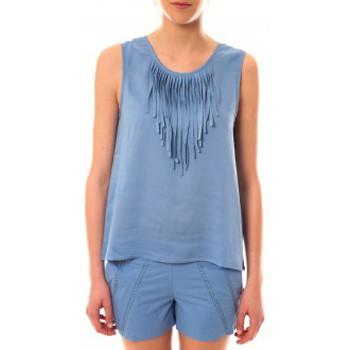 Clothing Women Tops / Sleeveless T-shirts Lara Ethnics Débardeur Maelys Bleu Blue