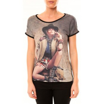 Clothing Women Short-sleeved t-shirts By La Vitrine Top Cowboy 1103 Noir Black