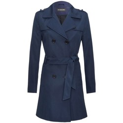 Clothing Women Trench coats De La Creme -Navy Womens Spring Tie Belted Trench Coat Blue