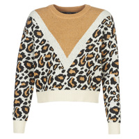 Clothing Women Jumpers Vero Moda VMLEON Ecru / Camel