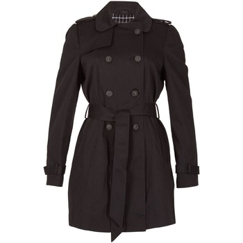 Clothing Women Trench coats David Barry - Black Womens Short Belted Trench Coat Black
