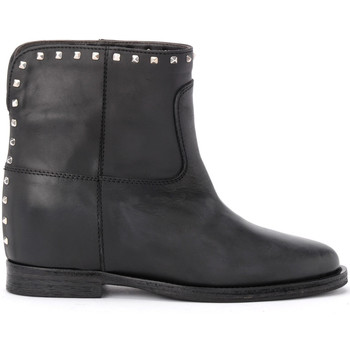 Shoes Women Ankle boots Via Roma 15 ankle boot in black leather with applied studs Black