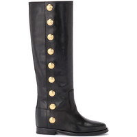 Shoes Women High boots Via Roma 15 boot in black leather with gold buttons Black