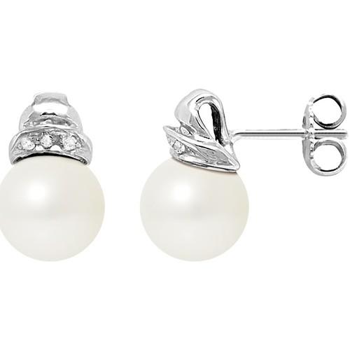 Watches & Jewellery  Women Earrings Blue Pearls BPS K605 W - OB White