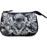 Bags Women Pouches Anuschka 1107 Cleopatra's Leopard -Hand Painted Leather Multicolour