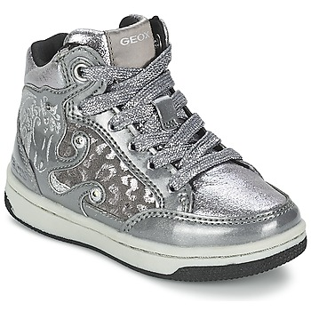 Shoes Girl Hi top trainers Geox CREAMY A Silver