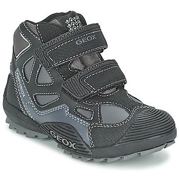 Shoes Boy Hi top trainers Geox SAVAGE B Black / Grey
